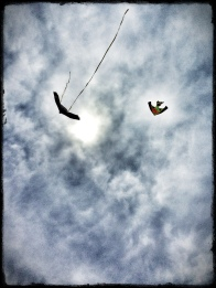 An incoming squall made for a dramatic picture of these kites flying on the South Shore. App'd with Snapseed and PhotoToaster.