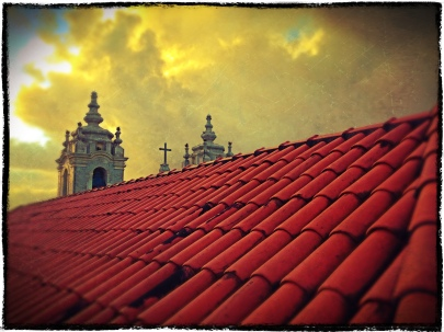 Sunset sets the sky ablaze in Salvador, Bahia.