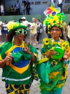 Senior Brazilian fans show their colours.