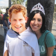 Brazilian fans brought Prince Harry masks to take photos with England supporters.