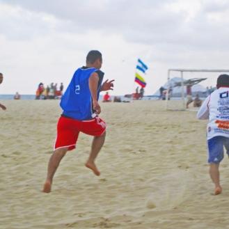 Beach soccer on Copacabana Beach, Rio de Janeiro.