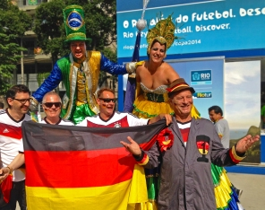 German fans party with the locals at the Maracana (Germany v France, quarter-final)